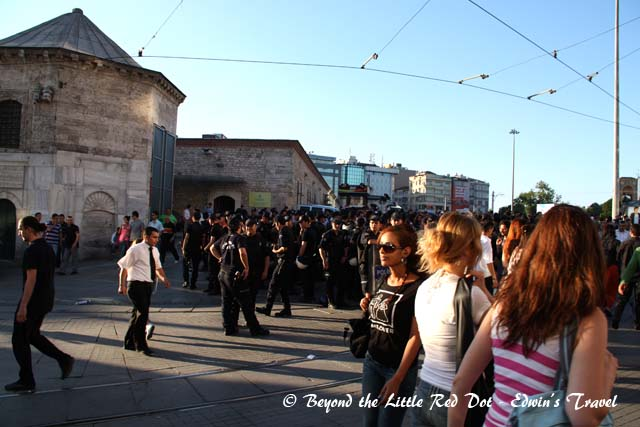 We found ourselves at Taksim Square. Riot police were getting ready for some trouble but nothing was happening.