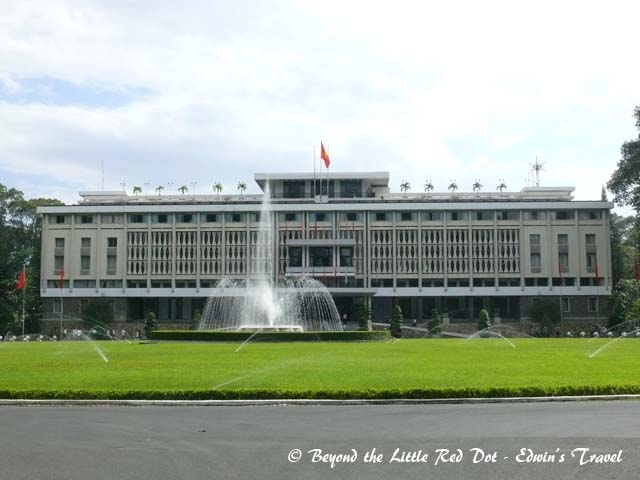 The Reunification Palace. It was closed on the day of our visit, so this photo from the front gate is all there is to it.