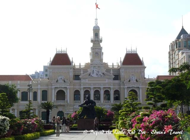 The City Hall with a statue of Ho Chi Minh in front.