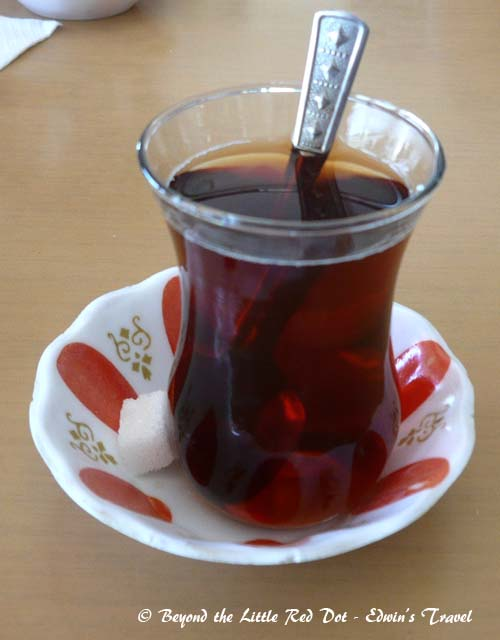 One of the past times of the Turks is to drink tea. Turkish tea is drunk from small cups and you can find them anywhere.