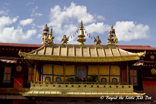 One of the gold gilded roofs of the temple.