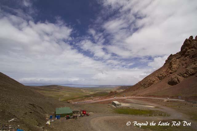 Lake Namtso is a saltwater lake at 4,720m above sea level.
