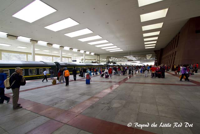 After getting off the train at Lhasa train station. You can't hang around too long on the platform as the security will come and chase you away.