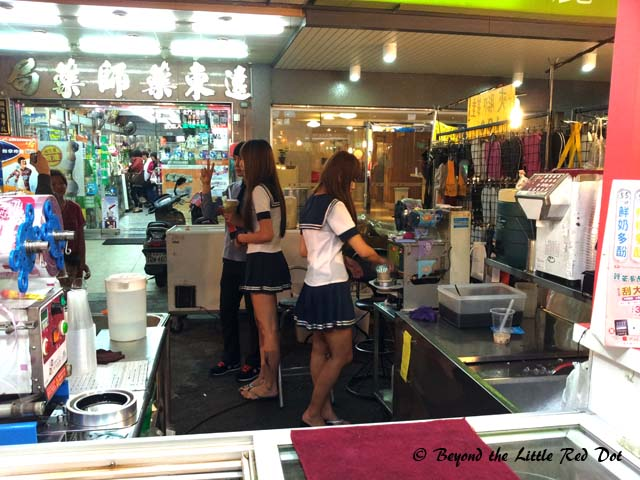 Cute young girls in Sailor Moon uniforms really helps to sell Bubble Tea.