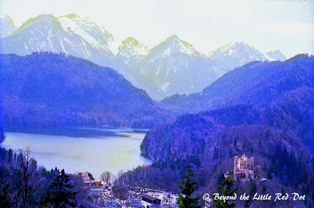 View of the valley and Hohenschwangau Castle which belonged to Ludwig II's father.