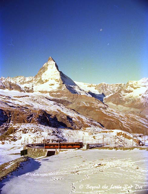 You can see the train that runs up Gornergrat, and the Matterhorn behind.