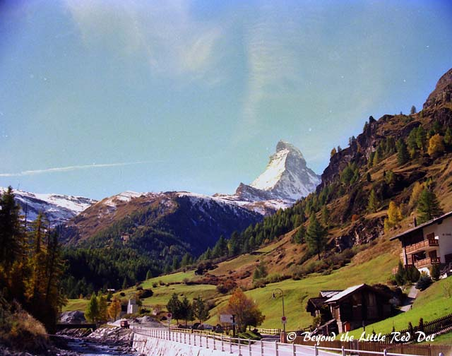The Matterhorn overlooks everything in Zermatt. This is the road that leads to the Gornergrat railway line. Internal combustion engine vehicles are not allowed in the town and only electric vehicles can be seen.