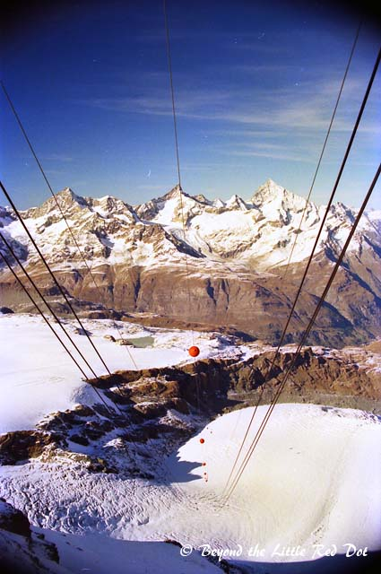 Scary view from the cable car station. The cable car ride is quite expensive (CHF82 for round trip) so we didn't take it. It goes up to Klein Matterhorn for a scenic lookout point.
