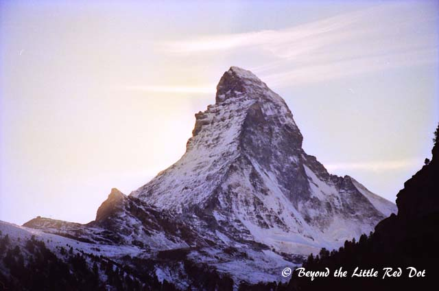 The Matterhorn in the evening. If this mountain looks familiar, that's because you can see it printed on every bar of Toblerone chocolate.