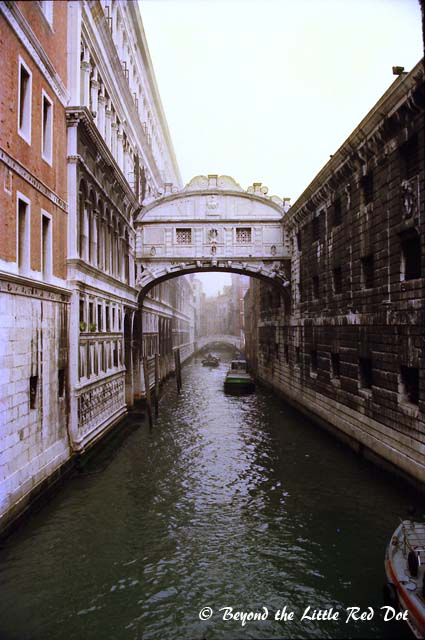The Bridge of Sighs. This bridge connects to the prison on the right side.