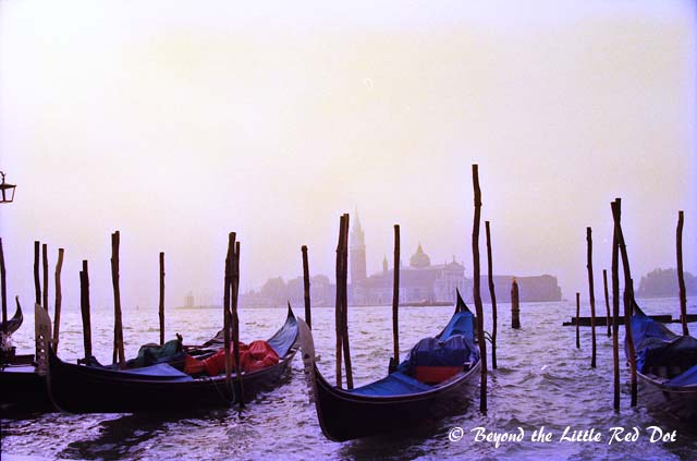 Gondolas floating with the early morning mist.