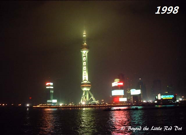 This is how Pudong looked from The Bund in 1998. Just the Oriental Pearl Tower and some commercial blocks. Puxi was still the place to be partying at.