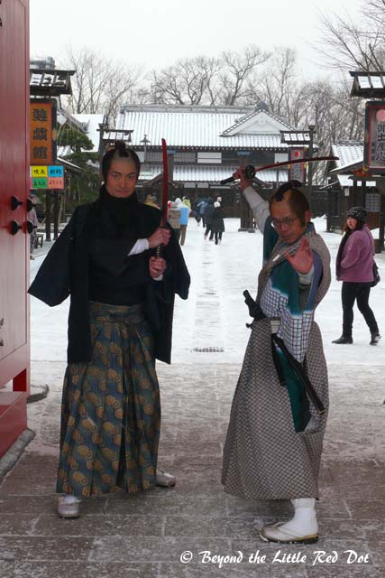 Greeted by 2 not so fierce looking samurais at the front gate. And, do samurai wear glases?