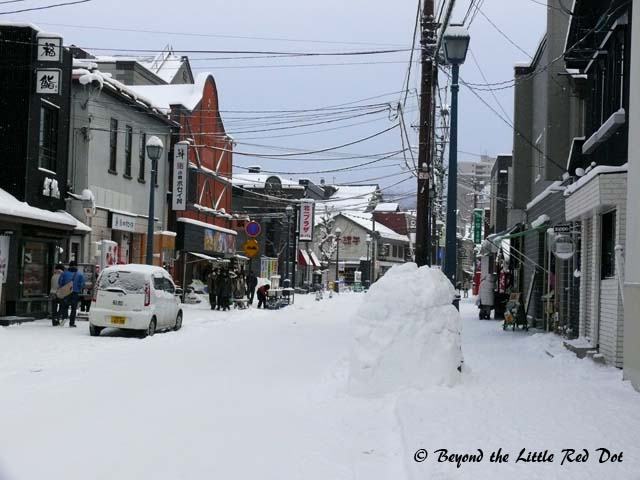 The snow covered streets of Otaru. We had a walking tour of the town.