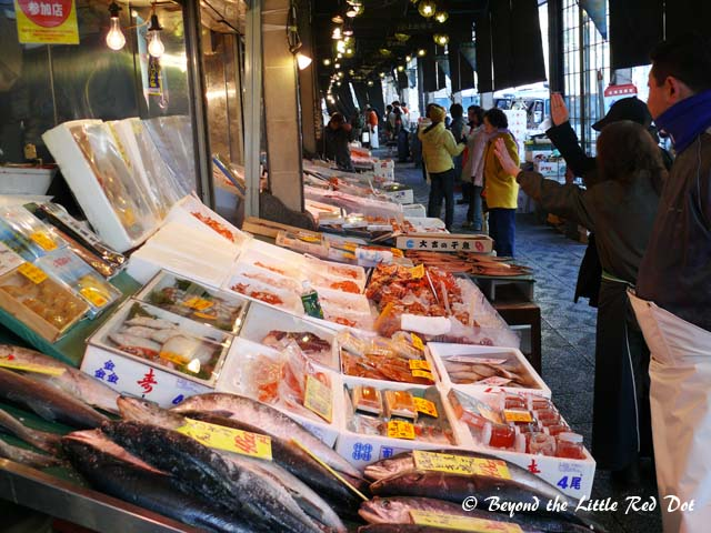 Nijo Market which is actually quite small. You can find fresh food here, especially seafood.