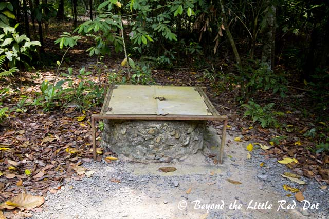 One of the many old wells that are found wherever villages are located. These have been covered to prevent people from falling in.