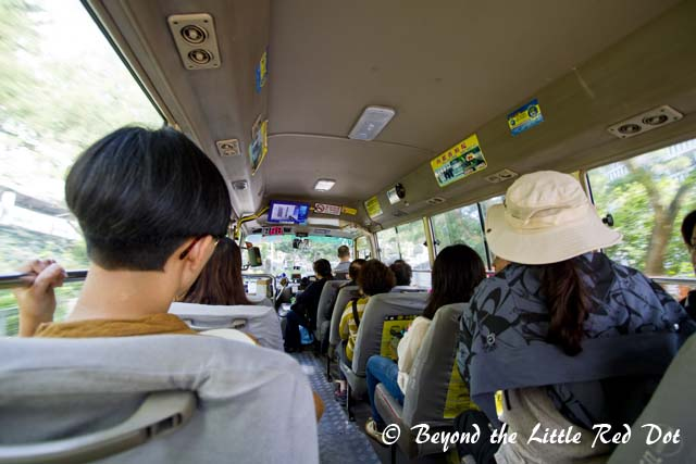 Inside the green minibus to Sai Kung. The trip takes 30 minutes or less depending on how fast the driver is going. It ranges from fast to maniacally fast.