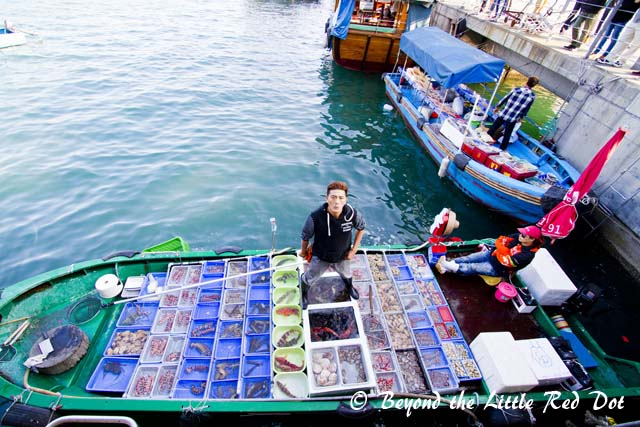 There are also fishermen selling live seafood. You can buy these and bring them home to cook or ask the restaurants to cook them for you for a fee.
