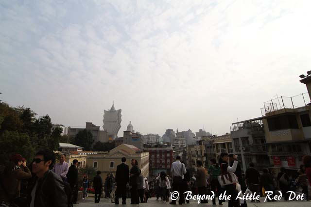 The view of Macau's skyline when you are at the top of the stairs.