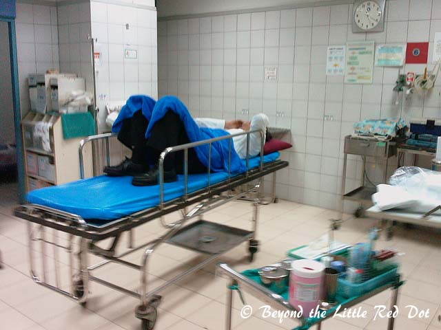 Our Mr Lee in the A&E. He was delirious and kept moaning in Cantonese that he was going to die.