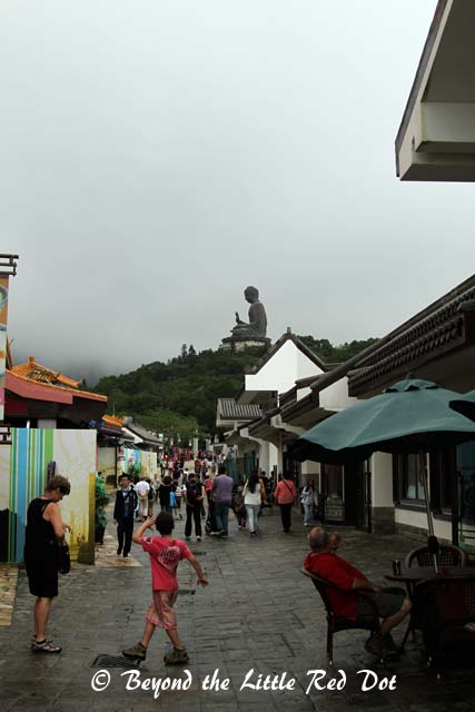 Walking through Ngong Ping. It's a cultural themed village.