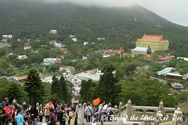 From the top you get a 360 degree view of Lantau Island. Below is Po Lin Monastery.