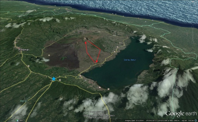 A Google Earth map showing our trek up and down Mt Batur. You can also see the Kintamai cauldera and the blue star is where the lookout point is.