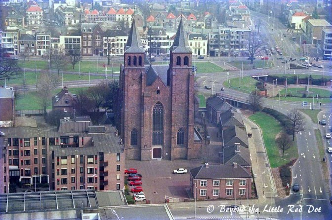 After climbing to the top of the tower you can see most of Arnhem. Here is the city church.