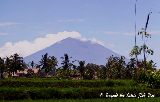 The majestic Gunung Agung can be seen rising more than 3000m from the countryside.