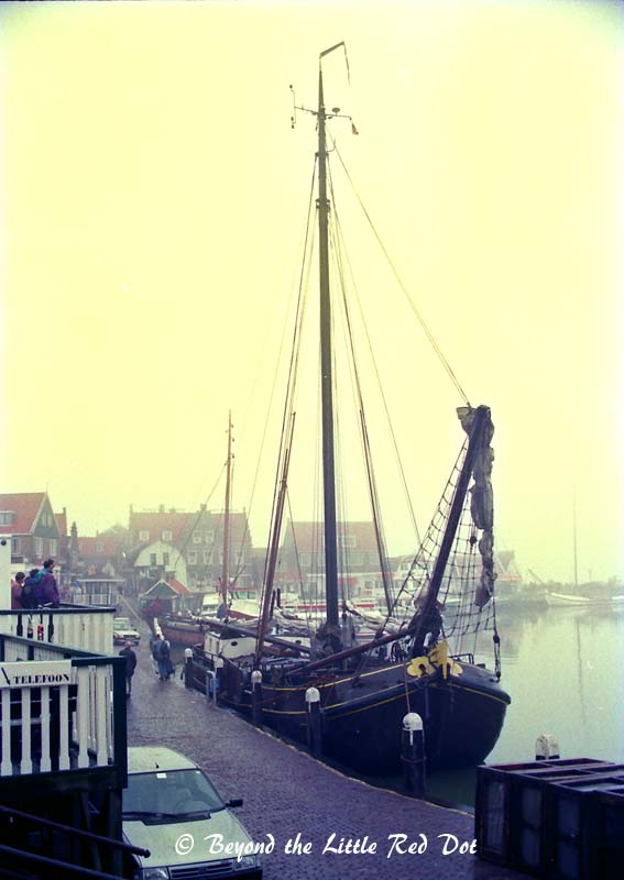 There are many old sailing ships along the harbor to remind you of Volendam's past as a fishing port.