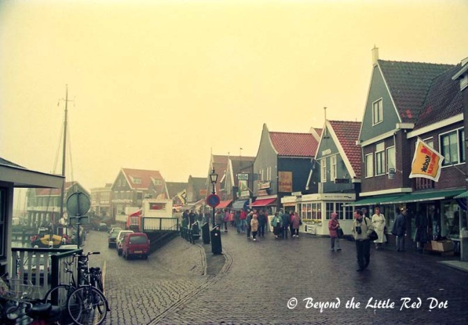 The fishing village of Volendam with its quaint wooden buildings.