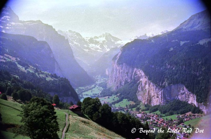 A bird's eye view of Lauterbrunnen as I took the train higher to Wengen.