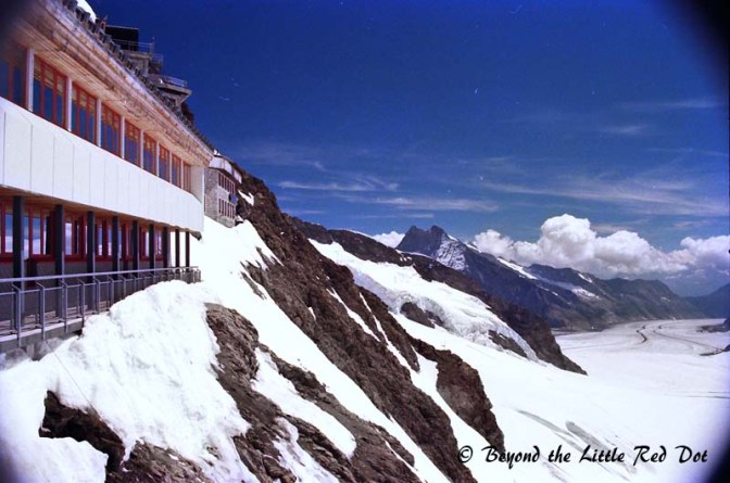 The view from the restaurant at Jungfraujoch.