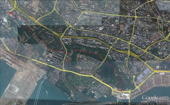 Here is map view of the route. It's roughly 7-8km but runs up and downhill.
