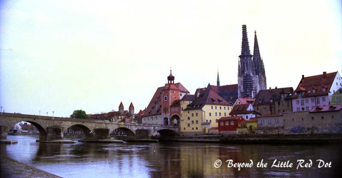 The old medieval town centre of Regensburg with it's Roman stone bridge.