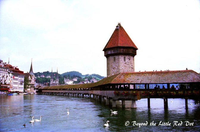 Synonymous with Lucerne is the Chapel Bridge, built in 1333. A fire destroyed most of the wooden bridge in 1993 and it was rebuilt a few months later.