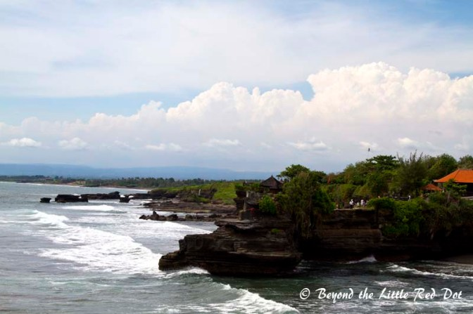 The rocky coast line around Tanah Lot.