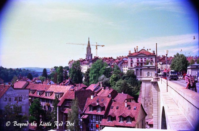 A view of Bern's Old Town along one of the bridges spanning the Aare River.