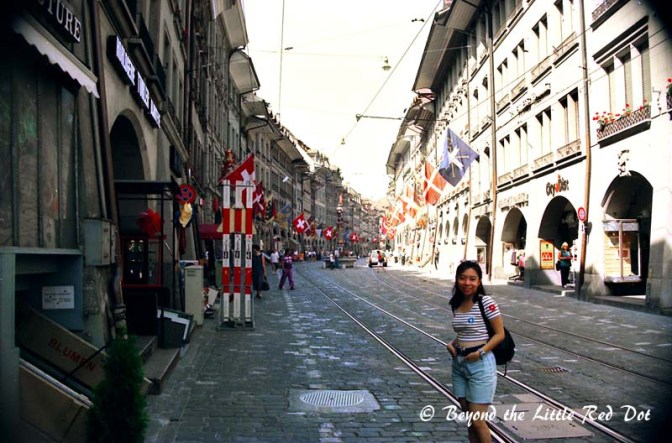 The main shopping street in Bern.