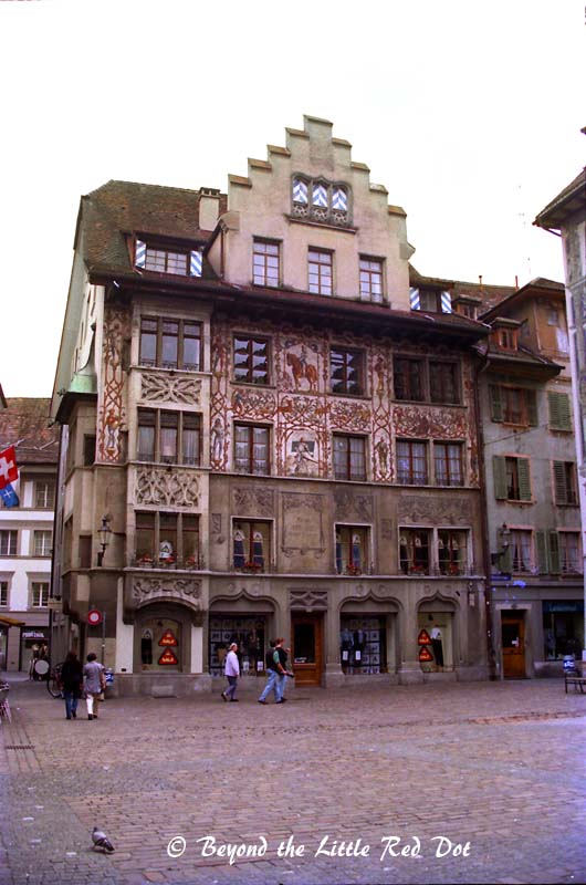 The old town of Lucerne with it's many decorated buildings.