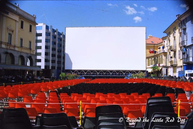 Getting ready for the Lorcano Film Festival 1997 in the Piazza Grande.