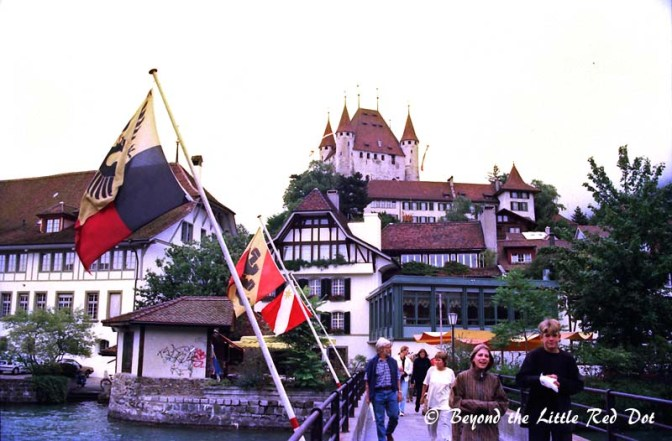 Thun Castle on a hill overlooking the town.