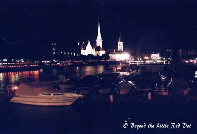 Night scene of Zurich and the Lake promenade.