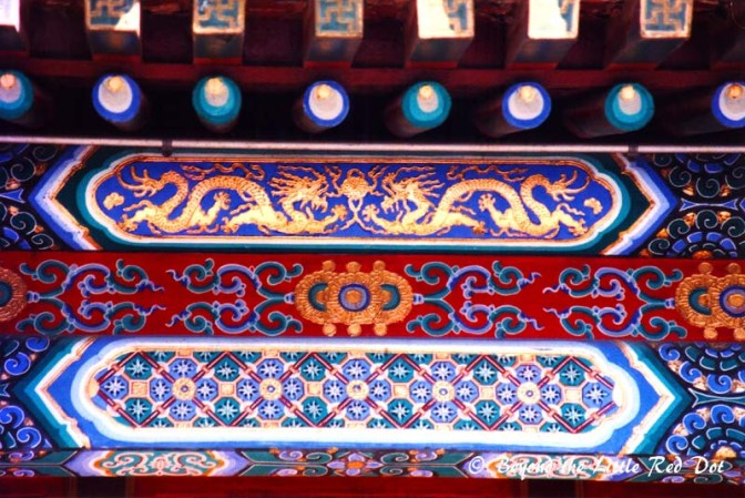 The 700m Long Corridor and a close up of the inlays and motifs on it's roof.