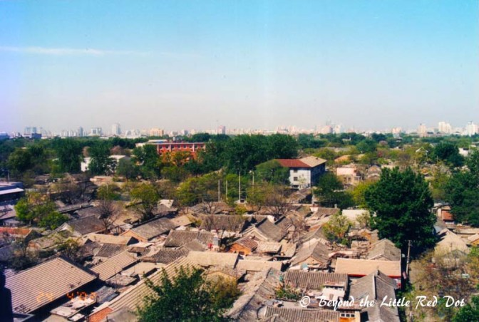 A bird's eye view of the hutong district.