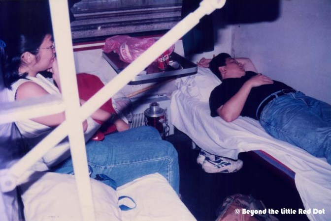Welcome to the 'hard' life. Our hard sleeper bunks with 3 bunks stacked on top of each other. Without locakable compartments, security of your personal belongings was paramount.
