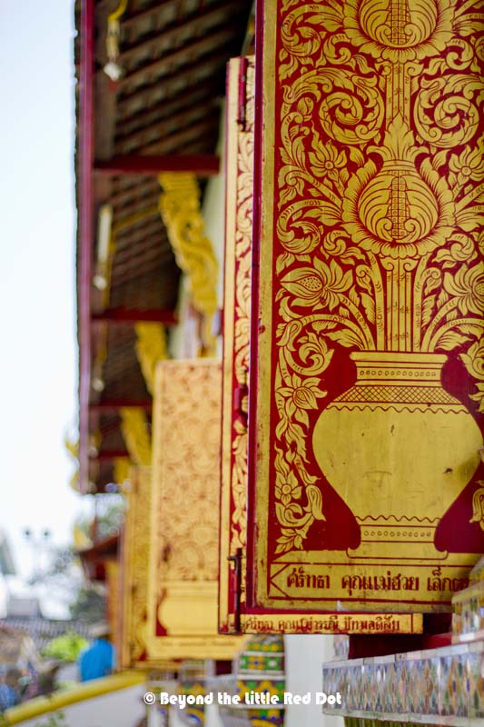 Gold detailing on the windows of Wat Chiang Man.