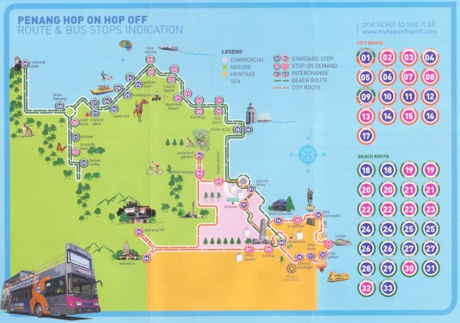A scanned version of the Penang Hop-on Hop-off bus brochure. Go to their website to find out more information.