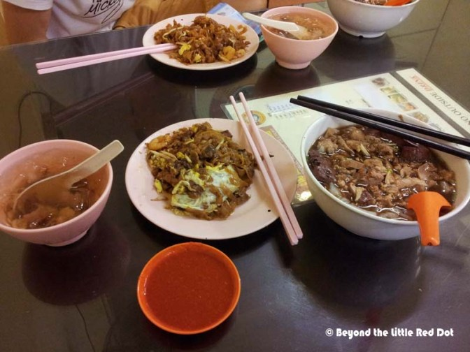 Penang char kway teow, the famoys kway chap where everything is mixed into a bowl of noodle soup, and cheng tng for dessert.