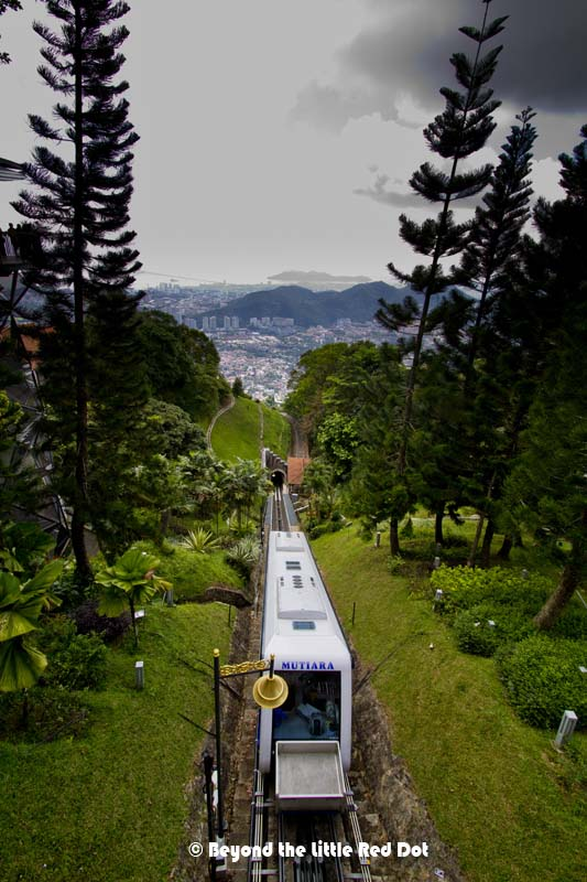 Once we reached the top of the hill, we can see the tram making it's way back down.